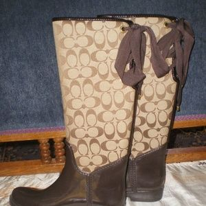 Coach Tristee Brown/Tan Signature Rain Boots Sz 7B